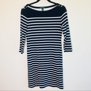 Ralph Lauren Navy & White Striped Boat Neck Dress